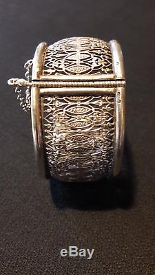 Beautiful Old Sterling Silver Opening Bracelet, Lace Work, 1900