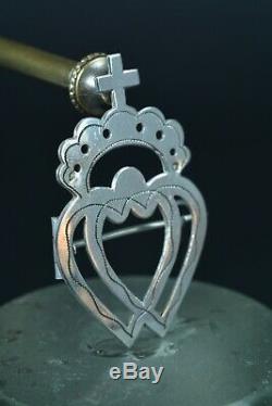 Beautiful Regional Jewel Brooch Old Vendéen Heart Silver Silversmith Paul Loze 19th