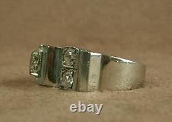 Belle Bague Ancienne Tank Art Deco In Argent Massif And Pierres Blanches