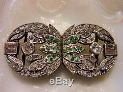 Belt Buckle Old Art Deco Silver Openwork Set With Rhinestone