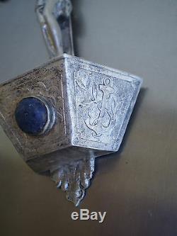 Benitier Christ Silver Massive XIX ° Ancient Orfevrerie Cabochon Stone Hard Cross