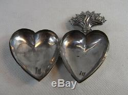 Big Old Heart Of Mary Reliquary Ex-voto Sterling Silver Reliquary Silver