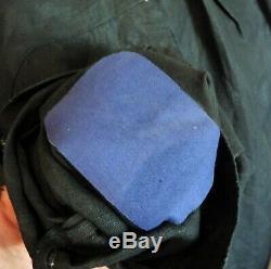 Blouse Antique Dealer / Biaude / Blaude Black Linen / Sterling Silver Collar Buckle