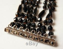 Bracelet 8 Row Pearl Clasp Silver Jet Old To 1920