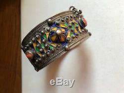 Bracelet Berber Kabyle Silver Silver Old Coral Cabochon Email