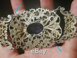 Bracelet Former 19th Hungarian Astro Amethyst Stones And Rhinestones Or
