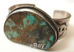 Bracelet In Silver + Turquoise Jewel Old Silver Indian Navajo