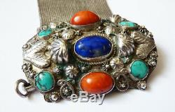 Bracelet Old Silver Turquoise + + + Coral Lapis Ethnic Silver