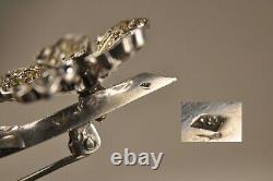 Brooch Ancient Silver Massive Antique Solid Silver Rhinestones Brooch