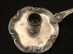 Candlestick Hand Old Sterling Silver With His Etoignoir Antique Candlestick