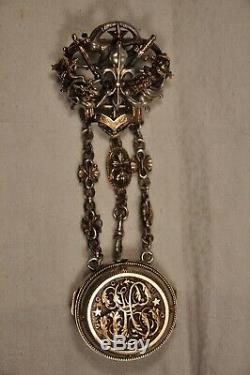 Chatelaine Old Gold Sterling Silver Antique Pocket Watch Case Froment-meurice
