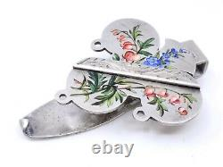 Clavet Old Keyboard In Solid Silver Enamelled 19th Chatelaine