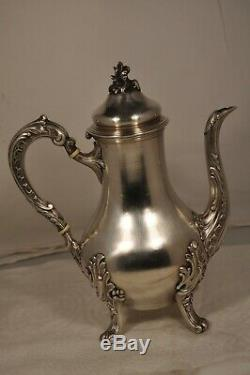 Coffee Maker Jug Old Sterling Silver Antique Solid Silver Coffee Pot 404gr