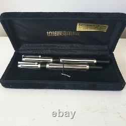 Coffret Ancien Pens Plume Bille Waterman Watermina Silver Massif Et Or 18k