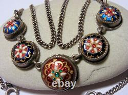 Collier Ancien 19th Emaux Bressans On Argent Punch Crabe