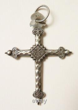 Cross Jeannette Solid Silver Bijou Old Regional 19th Century Silver Cross Cruz