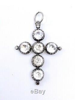 Cross Old Jeannette Regional Arlesienne Provencal Silver And Rhinestone