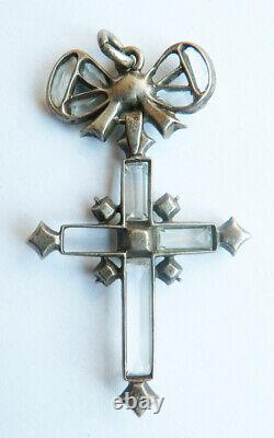 Cross Pendant In Solid Silver + Rhinestone Old Jewellery 19th Century Silver Cross