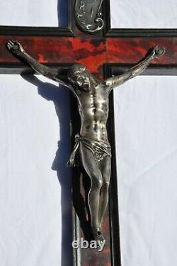 Crucifix Old Silver Massive Large Antique Head Skull 17-18th C. False