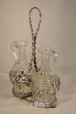 Cruet Vinegar Old Sterling Silver Rooster Orleans Antique Solid Silver Oil Set