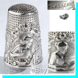 Denteliere Old Sewing Thimble Fingerhut Silver Sewing Thimble French Silver Wire