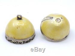 Egg Pendant Old Solid Silver Enameled Dressing XIX Pomander