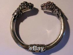 Ethnic Bracelet 2 Heads Old Lions Band Opening In Silver