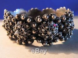 Ethnic Bracelet Cuff Richly Worked Old Silver Punch