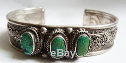Ethnic Bracelet In Sterling Silver And Turquoise Silver Antique Jewel