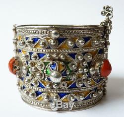 Ethnic Bracelet Silver + Enamel Former Algeria Maghreb 124g Silver Bracelet