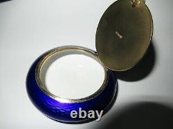 Ex Boite Emaillee Argent Emaux 60 MM 65.9 G Sterling Silver Enamelled Box