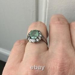 Exceptional Ancient Ring Emerald Veritable, Silver, Topaz