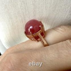 Exceptional Enormous Ruby Antique Ring In Vermeil Gold Pink/ Silver Massif