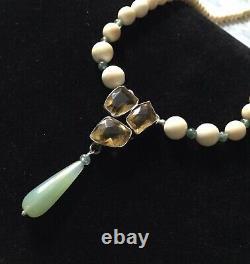 Exceptional Old Collier Citrine, Jade, Bone, Silver Massive, Art Deco