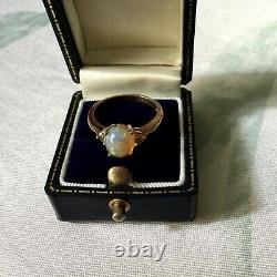 Exceptional Veritable Opale, Antique Ring In Vermeil Gold Pink/ Silver Massive