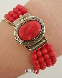 Former 19th Bracelet Beads And Cameo In Coral Red Clasp Silver 17cm
