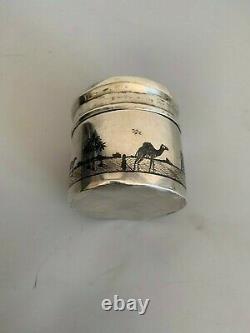 Former Box Pot Pot Massive Silver Niellé Iraqi Niello Tea Caddy Signed Box