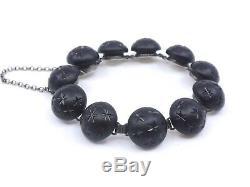 Former Bracelet In Sterling Silver Beads And Jet Era XIX