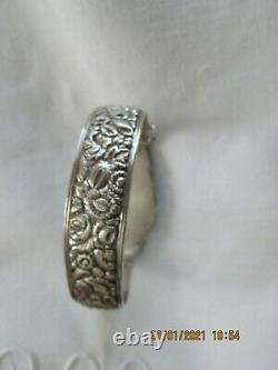 Former Chinese Silver Bracelet And Jade Jade Made Early Xxe 58grs