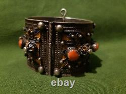 Former Kabyle Silver Coral Bracelet And 19th Century Enamel. Ethnic