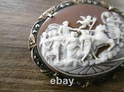 Former Marcassite Solid Silver Cameo Brooch