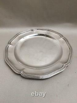 Former Plat / Assiette Argent Massif Round Nets Minerve French Silver At 27.5