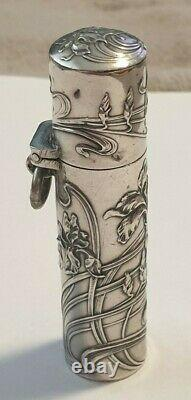 Former Rare Flacon A Sels Decor Art New In Argent Massif Silver Salt Bottle
