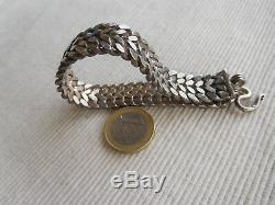 Fort Old Bracelet In Sterling Silver Swan 67 Grams 19 Cms Ribbon Braid Gb17