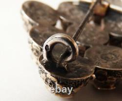 + Garnet Brooch Silver Medallion 19th Ancient Jewel Silver Garnet Brooch Victorian