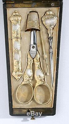 Gilt Silver Old Gold Sewing Kit Box Marquetry Scissors Case