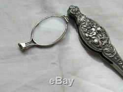 Glasses Old Hand Face Sterling Silver Flower Decor Art-nouveau
