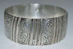 Great Old Silver Cuff Bracelet Punch North Africa Jewel 139.4 G
