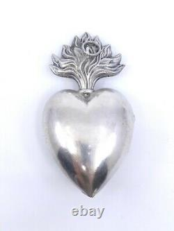 Heart Of Mary Ancient In Solid Silver Reliquary Ex Voto 19th (2)
