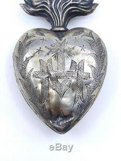 Heart Of Mary Ancient Silver Reliquary Massive Ex Voto XIX